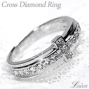 リング クロスリング 天然ダイヤモンド PT900 プラチナ 十字架 結婚指輪|luire-jewelry