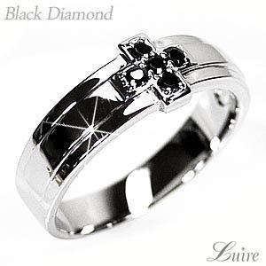 リング メンズリング クロス シンプル ブラックダイヤモンド Pt900プラチナ 結婚指輪|luire-jewelry