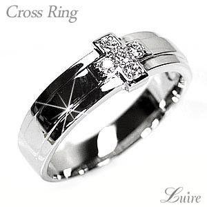 リング メンズリング クロス シンプル ダイヤモンド k10ホワイトゴールド 結婚指輪|luire-jewelry
