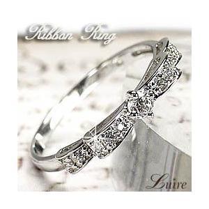 指輪 ピンキーリング レディース Wリボン リング プラチナ リボンリング 天然ダイヤモンド PT900 プラチナ 誕生日 プレゼント 指輪 luire-jewelry