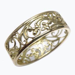 指輪 レディース 18金 地金リング 透かし模様 アンティーク調 k18ゴールド 【K18WG】【K18YG】【K18PG】  結婚指輪 プレゼント|luire-jewelry