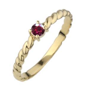 ルビー リング レディース 一粒石 誕生石 リング 縄模様 アンティーク 誕生日 記念日 自分ご褒美 k18WG/YG/PG luire-jewelry