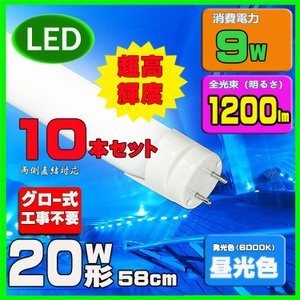 LED 蛍光灯 20w形 直管LED蛍光灯 10本セット 送料無料|lumi-tech