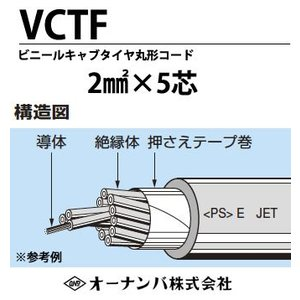 【オーナンバ】ビニルキャブタイヤ丸形コード(VCTFケーブル)VCTF 2sq-5芯 100m|lumiere10