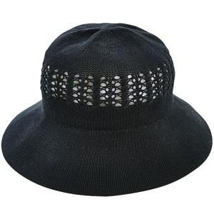 レディース帽子 uv 夏 シワになりにくい風通るUV帽子 ブラック|lunabeauty