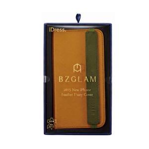 iphone6sPlus BZGLAM レザーダイアリーカバー ブラウン iphone ケース|lunabeauty