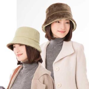 帽子 あったかリバーシブル帽子 ベージュ×ブラウン リバーシブル|lunabeauty