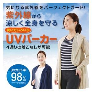 UV パーカー レディース 指穴 涼しい 紫外線対策 NEWスタイルリッチUVパーカー ライトベージュ S-M|lunabeauty