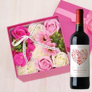 父の日 ギフト ワイン&シャボンフラワー カラーBOX ローズピンク【ワイン 花 石鹸 プレゼント 贈り物 ソープフラワー】 lunatable