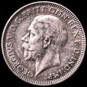 イギリス ジョージ5世 1933年 6ペンス銀貨|lunatrading