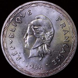 イギリス・フランス領 ニューヘブリディーズ諸島(現バヌアツ)1966年 100フラン銀貨