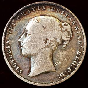 イギリス ビクトリア 1864年 シリング銀貨|lunatrading