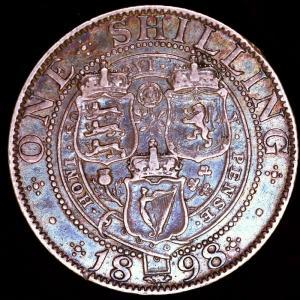 イギリス ビクトリア 1898年 シリング銀貨|lunatrading