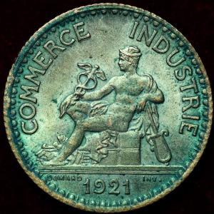 フランス 1921年 1フラン硬貨 奇跡のグリーン|lunatrading