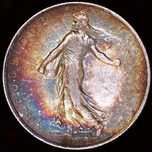 フランス 1918年 2フラン銀貨|lunatrading