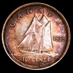 カナダ 1939年 ジョージ6世 10セント銀貨|lunatrading