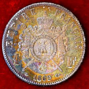 フランス 1869年 1フラン銀貨|lunatrading