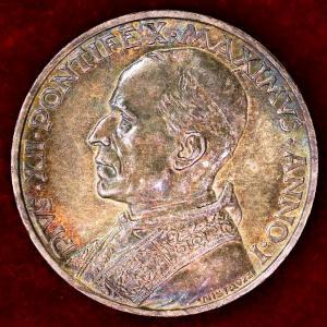 バチカン市国 1939年 5リレ 銀貨 ピウス12世|lunatrading