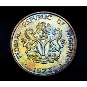 ナイジェリア 10 コボ 硬貨 1973年銘 ミラクルレインボー lunatrading