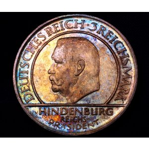 ドイツ ワイマール共和国 3マルク 銀貨 憲法10周年 ヒンデンブルク 1929G スーパートーン lunatrading