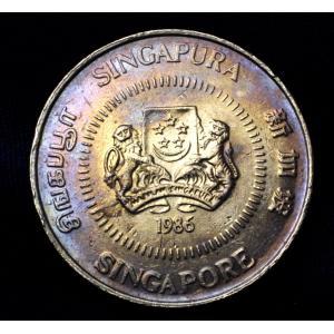 シンガポール 50セント 硬貨 コイン 1986年銘 パープルトーン lunatrading