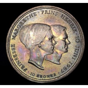デンマーク 10クローネ 銀貨 1967年銘 マルグレーテ王女婚礼 ロイヤルピンクトーン lunatrading