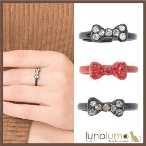 指輪 レディース リング リボン パヴェ キラキラ シルバー 赤 グレー フリーサイズ 小さめ N lunolumo