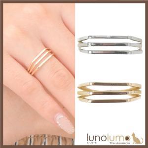 指輪 レディース リング メタル トリプルライン スクエア ゴールド シルバー カジュアル N lunolumo