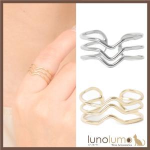 指輪 レディース リング メタル トリプルライン ゴールド シルバー フリーサイズ N lunolumo