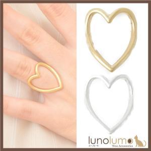 指輪 レディース リング メタル 艶消し マット加工 ゴールド シルバー ハート フリーサイズ N lunolumo