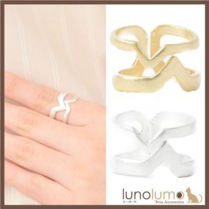 指輪 レディース リング メタル 艶消し マット加工 ゴールド シルバー 幾何学 フリーサイズ N lunolumo