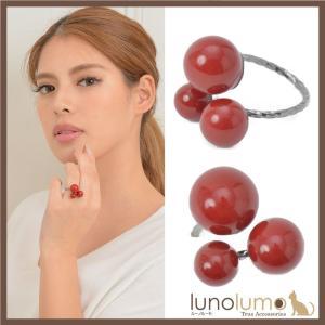 指輪 リング レディース 赤 血赤珊瑚風 珊瑚風 真紅 メタル 黒 レッドボール 3粒 N lunolumo