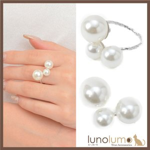 指輪 リング レディース パール 白 シルバー メタル フォーマル 上品 3粒 N lunolumo