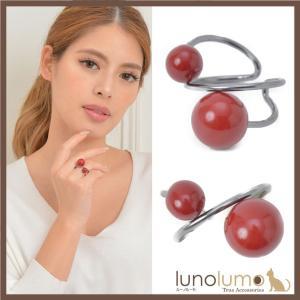 指輪 リング レディース 赤 血赤珊瑚風 珊瑚風 真紅 メタル 黒 レッドボール クロス N lunolumo