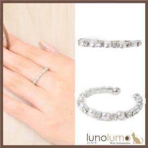 指輪 レディース リング パール キラキラ ラインストーン シルバー フリーサイズ N lunolumo