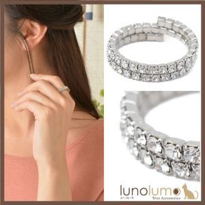 指輪 パヴェ キラキラ ラインストーン シルバー レディース リング コイル巻き N lunolumo