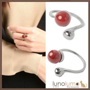 指輪 リング レディース 赤 血赤珊瑚風 珊瑚風 真紅 メタル 黒 レッドボール カジュアル N lunolumo