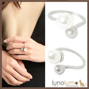 指輪 リング レディース パール メタル シルバー 艶消し カジュアル フリーサイズ N lunolumo