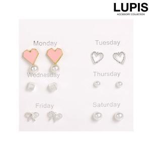 ピアス レディース シンプル セット パール ハート リボン かわいい|lupis