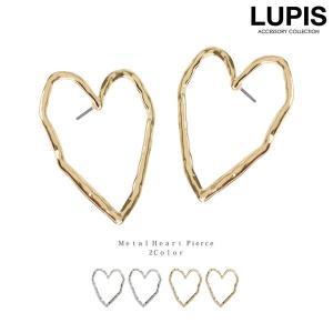ピアス ハート メタル 変形 シンプル 大人 ゴールド シルバー|lupis