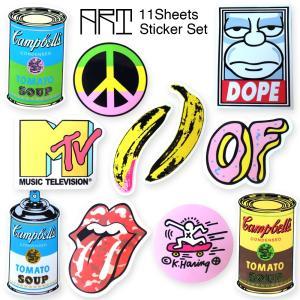 メール便 送料無料 ポップアート ステッカー 11枚セット PVC 防水 シール / キースヘリング アンディウォーホル MTV|lupo