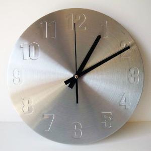 シルバー デザイン ラウンド 立体 ウォールクロック 壁掛け時計|lupo