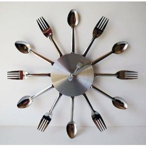 銀食器 スプーン&フォーク&ナイフ  デザイン ウォールクロック 壁掛け時計|lupo
