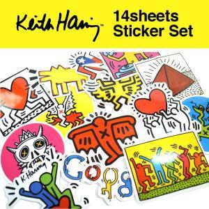 キースヘリング ステッカー 14枚セット PVC 防水 シール  Keith Haring ポップアート|lupo