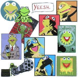 メール便/送料無料 カーミット ステッカー 11枚セット 約A4サイズ  / Kermit the Frog セサミストリート 防水 シール カッティングシート|lupo