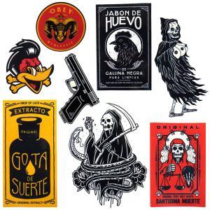 メール便 送料無料 メキシカン ステッカー 9枚セット / シール メキシコ ドクロ スカル タトゥー 刺青 ハードコア|lupo