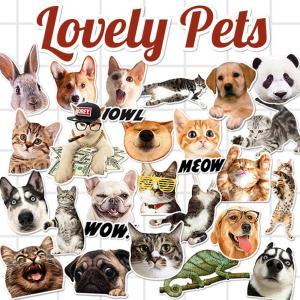 ラブリー ペット ステッカー 25枚セット PVC 防水 シール ネコ ねこ 猫 イヌ いぬ 犬 スーツケース Macbookなどに|lupo