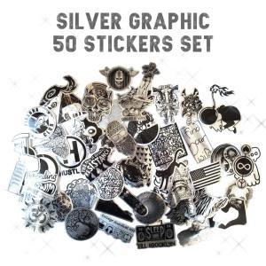 シルバーコーティング グラフィック アート ステッカー 50枚セット PVC 防水 シール スーツケース MacBook|lupo