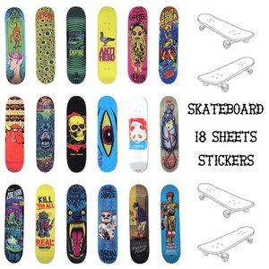 メール便 送料無料 スケートボードデッキ ステッカー 18枚セット PVC 防水 シール / スケボー シール ストリート|lupo