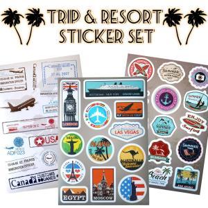 メール便 送料無料 海外旅行 ステッカーセット PVC 防水 全6種 / シール サマー サーフィン スーツケース ノートパソコン